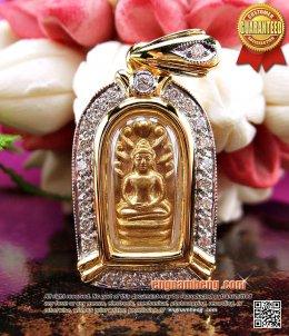 พระปรกใบมะขาม เนื้อทองคำ หลวงพ่อเปิ่น ปี 2534 พุทธคุณสุดยอด สวยแชมป์ค่ะ