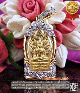 พระนาคปรกเนื้อทองคำ หลวงปู่คร่ำ อรัญวงศ์ เลี่ยมกรอบทองคำประดับเพชรเบลเยี่ยม หายากค่ะ
