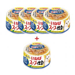 INABA Cat Food Canned Tuna White & Red Chicken Fillet with Bonito (80 g. x 5)
