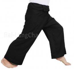 "Yoga Massage Trousers Wrap Black 50"" waist Thai Fisherman Pants, Comfortable Slightly Thin"