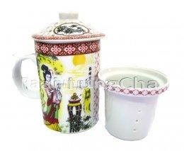 ถ้วยกระเบื้องชงชาพร้อมถ้วยกรองชา (Porcelain Filtering Tea Mug Set)