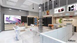 ออกแบบ 3D ร้านจำหน่ายมือถือ ร้าน ชัยรัตน์   อ.จอมพระ จ. สุรินทร์ ขนาดพื้นที่ 64 ตารางเมตร
