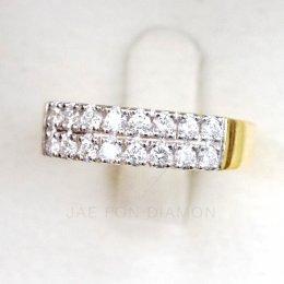แหวนเพชรเบลเยี่ยมแท้ น้ำ98 เพชรสองแถว