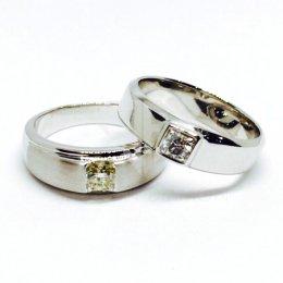 แหวนเพชรเบลเยี่ยมแท้ น้ำ98 แหวนคู่