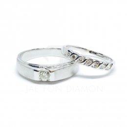 แหวนเพชรเบลเยี่ยมแท้ น้ำ98 แหวนคู่ ทองคำขาว