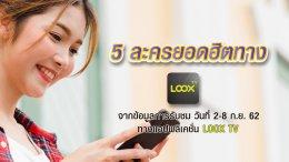 LOOX TV เรตติ้ง 2-8 ก.ย. 62