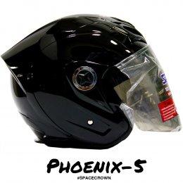 หมวกกันน็อคสเปซคราวน์ เปิดหน้า Phoenix-5 สีดำ