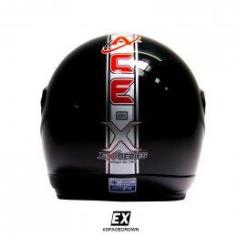 หมวกกันน็อคสเปซคราวน์ เปิดหน้า EX สีดำ