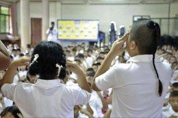 ค่ายคุณธรรมจริยธรรมนักเรียน โรงเรียนพวงคราม นักเรียนชั้นประถมศึกษาชั้นปีที่ 1-4 บรรยายโดยคณะพระวิทยากรกลุ่มใต้ร่มพุทธธรรม