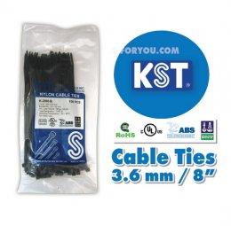 Nylon Cable Ties KST สีดำ ยาว8นิ้ว