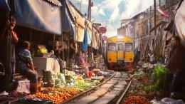 Damnoen Saduak Floating Market, Umbrella Market on Railway