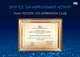 Thai Steel Cable was granted the Award of  2019 TCC QA IMPROVEMENT ACTIVITY  Certificate from  TOYOTA DAIHATSU ENGINEERING & MANUFACTURING CO., LTD.