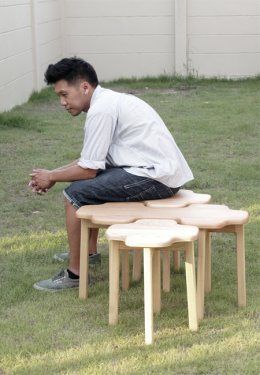 CLOUDY wood stool set