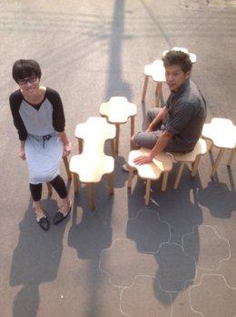 CLOUDY wood stool set