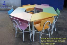 โต๊ะเก้าอี้นักเรียนหมู่ทรงคางหมูคละสี