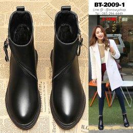 [พร้อมส่ง 36 37 38 39 40 ] [BT-2009-1] Boots รองเท้าบู๊ทสั้นหนังสีดำ ด้านในเท้าบุขนกันหนาว มีซิปสวย