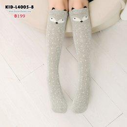 [พร้อมส่ง] [KID-L4005-8] ถุงเท้าเด็กลายการ์ตูนน่ารักลายเทาแรคคูณ(สำหรับเด็ก3-10ขวบ)