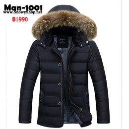 [*พร้อมส่ง M,L,XL3XL ] [Man-1001] เสื้อโค้ทกันหนาวผู้ชายสีดำผ้าซับขนเป็ดหนา ฮู้ดเฟอร์ถอดได้ ใส่กันหนาวติดลบ