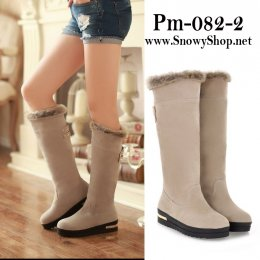 [[พร้อมส่ง 36,37]] [Boots] [Pm-082-2] Pangmama รองเท้าบู๊ทสูงสีครีมกำมะหยี่ ซับขนกันหนาวด้านใน ใส่สวยมากๆค่ะ