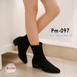 [พร้อมส่ง 36,38,39,40,41,43] [Boots] [Pm-097] Pangmama รองเท้าบู๊ทสั้นสีดำผ้ากำมะหยี่ สามารถพับได้ ซับขนกันหนาวด้านใน ส้นรองเท้าหนาสวยค่ะ