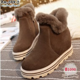 [พร้อมส่ง 37] [Boots] [Pm-099-2] รองเท้าบูทสั้นสีน้ำตาล มีซิปข้าง แต่งขนเฟอร์ด้านในซับขนกันหนาว กันน้ำ เล่นหิมะได้เลยค่ะ