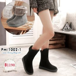[พร้อมส่ง 36,37,38,39,40,41,42,43] [Boots] [Pm-1002-1] รองเท้าบูทยาวครึ่งแข้งสีดำ ผ้ากำมะหยี่ ด้านในซับขนกันหนาว รุ่นนี้พับได้สวยค่ะ