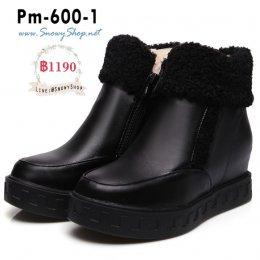 [พร้อมส่ง 36,37,38,39,40,41,42,43] [Boots] [Pm-600-1] รองเท้าบูทสั้นหนังสีดำ ซับขนด้านในกันหนาว มีซิปข้างใส่สบาย ลุยหิมะได้ค่ะ