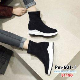 [พร้อมส่ง 36,37,38,39,40,41,43] [Pm-601-1] Boots รองเท้าบู๊ทสั้นสีดำ ผ้ากำมะหยี่ ใส่เดินสบายไม่เมื่อย เหมาะกับทุกชุด (รุ่นนี้ไม่ซับขนด้านใน)