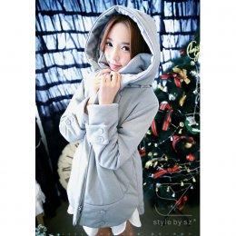 [[*พร้อมส่ง F]] [SZ-9889] Style By SZ++เสื้อโค้ทกันหนาว++เสื้อโค้ทกันหนาวสีเทาอ่อนผ้านุ่ม มีหมวกฮู้ด แขนยาว ผ้าหนากันหนาวได้ดีมากค่ะ