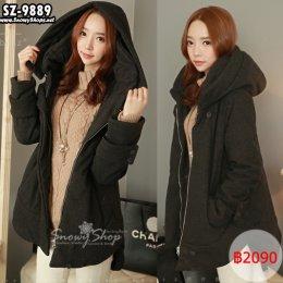 [[*พร้อมส่ง F]] [SZ-9889-1] Style By SZ++เสื้อโค้ทกันหนาว++เสื้อโค้ทกันหนาวสีเทาเข้มผ้านุ่ม มีหมวกฮู้ด แขนยาว ผ้าหนากันหนาวได้ดีมากค่ะ