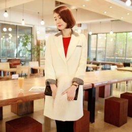 [[*พร้อมส่ง M]] [SZ-9888] Style By SZ เสื้อโค้ทกันหนาว เสื้อโค้ทกันหนาวสีขาวโค้ทยาว แต่งขอบลายเทา