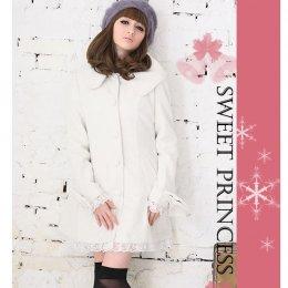 [[พร้อมส่งXL]] [Yi-1536] FZY++เสื้อกันหนาว++เสื้อโค้ทกันหนาวสีขาวผ้าฝ้ายสำลีมีซับด้านใน แต่งระบายลูกไม้ปลายกระโปรง