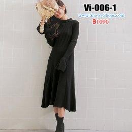 [พร้อมส่ง F] [Vi-006-1]  เดรสไหมพรมยาวสีดำ คอกลม ปลายปขนระบาย  ผ้ายืดหนานุ่มอย่างดี