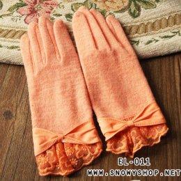 [*พร้อมส่ง] [EL-011] EL++ถุงมือ++ถุงมือกันหนาวสีส้มคอตตอนแต่งผ้าลูกไม้