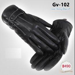 [พร้อมส่ง] [Gv-102] ถุงมือหนังกันหนาวชายสีดำ