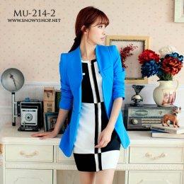 [[*พร้อมส่ง M]] [Mu-214-2] Mumuhome++เสื้อสูท++เสื้อสูทสีน้ำเงินแขนยาว ผ้าหนามีซับ ใส่เข้ารูปอย่างดี