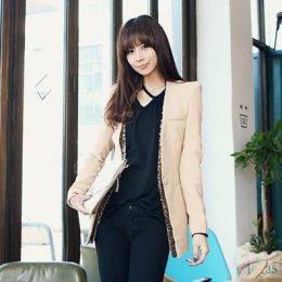 [[*พร้อมส่งS,M,L]] [SZ-3463] Shezyy ++เสื้อสูท++ เสื้อสูทสีครีมพร้อมเลื่อมแต่งด้านในเสื้อ สวยๆ ค่ะ