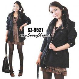 [[*พร้อมส่ง F]] [SZ-9521] SZ++เสื้อแจ๊คเก็ต++เสื้อแจ๊คเก็ตสีดำ เอวผูกเชือกได้ สามารถใส่เป็นเสื้อคลุมได้ค่ะ