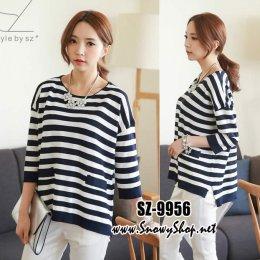 [[*พร้อมส่ง F]] [SZ-9956] Style By SZ เสื้อโค้ทกันหนาวสีน้ำเงินลายทางคอกลม ผ้าหนาเนื้อไหมพรมละเอียดใส่กันหนาว