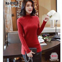 [พร้อมส่ง F] [Xu-010-4] เสื้อไหมพรมคอตัดสีแดง ผ้ายืดลายเส้น แขนยาว ผ้าดีมาก
