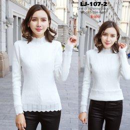 [พร้อมส่ง F] [LJ-107-2] เสื้อไหมพรมลองจอนแบบกลมลายบัวสีขาว ด้านในซับขนวูลกันหนาว แขนยาว ใส่ติดลบได้ค่ะ