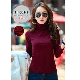 [พร้อมส่ง S,M,L,XL,2XL,3XL ] [Ln-001-3] เสื้อลองจอนคอสูงสีแดง ด้านในซับขนวูลกันหนาว ใส่กันหนาวได้ดี