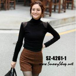 [พร้อมส่ง]  [เสื้อคอเต่า] [SZ-4261-1] Shezyy เสื้อคอเต่าสีดำ คอเต่าตัวยาวผ้ายืดตามตัวค่ะ