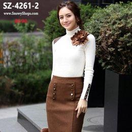[พร้อมส่ง]  [เสื้อคอเต่า] [SZ-4261-2] Shezyy เสื้อคอเต่าสีขาว คอเต่าตัวยาวผ้ายืดตามตัวค่ะ
