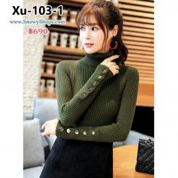[พร้อมส่ง] [Knit] [Xu-103-1] เสื้อไหมพรมคอเต่าสีเขียว ผ้าลายเส้นเนื้อหนา ใส่แล้วเข้ารูปตามตัวคะ