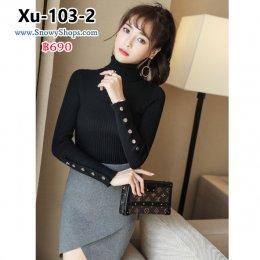 [พร้อมส่ง] [Knit] [Xu-103-2] เสื้อไหมพรมคอเต่าสีดำ ผ้าลายเส้นเนื้อหนา ใส่แล้วเข้ารูปตามตัวคะ