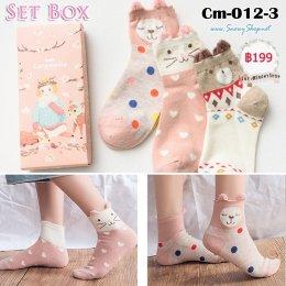 [พร้อมส่ง] [Cm-012-3] ถุงเท้ากันหนาวลายหมี,น้ำตาลชมพูน่ารัก 3คู่/กล่อง