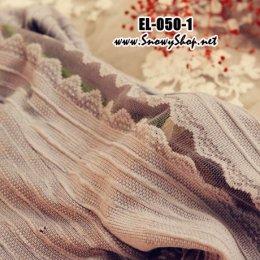 [[*พร้อมส่ง]] [EL-050-1] EL ถุงน่องลายลูกไม้สีเทา สวยมาก