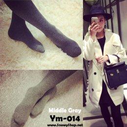 [[*พร้อมส่ง]] [Leggings] [Ym-014] Yumi เลคกิ้งกันหนาวสีเทางกลางผ้าคอตตอนปลายถุงเท้า