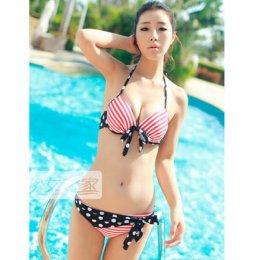 [[พร้อมส่ง]] [SH-006] SH++ชุดว่ายน้ำ++Bikini 2 Piece ลายทางสีขาวแดงหน้าอกผูก กางเกงว่ายน้ำมีผ้าผูกลายจุดน่ารักมากๆค่ะ